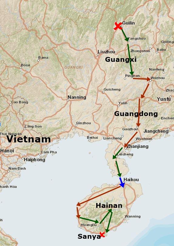 Übersicht Route China