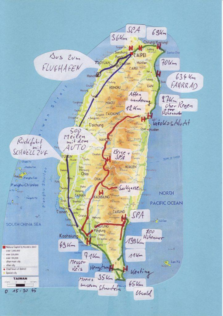 Reiseroute Taiwan