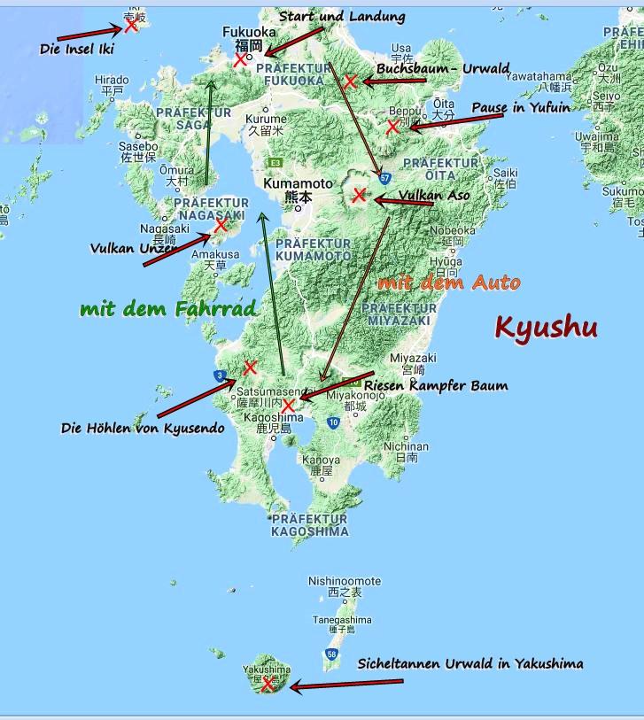 Start und Ziel in Fukuoka, der Hauptstadt von Kyushu.