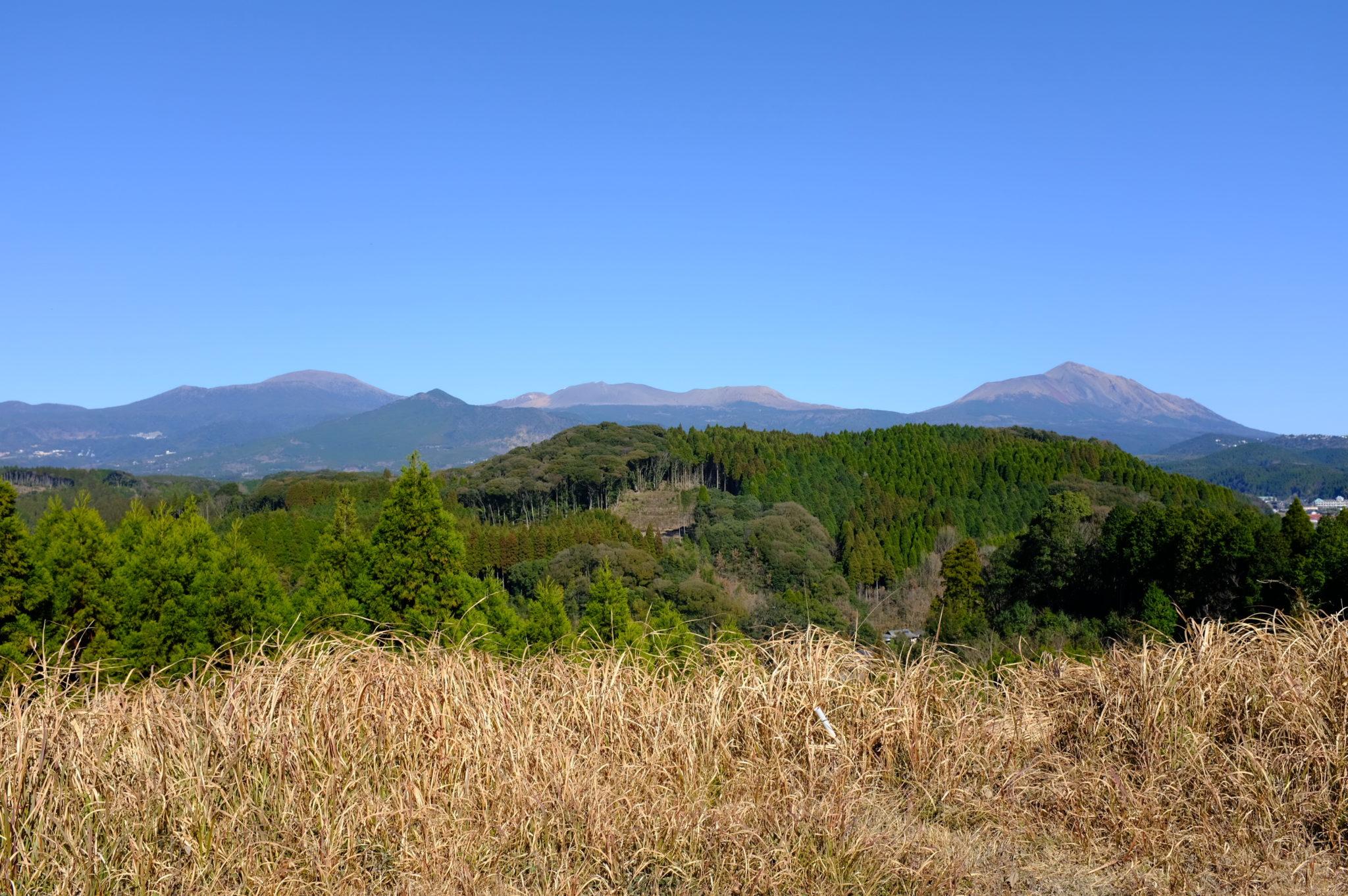 Blick auf die Berge von Kirishima